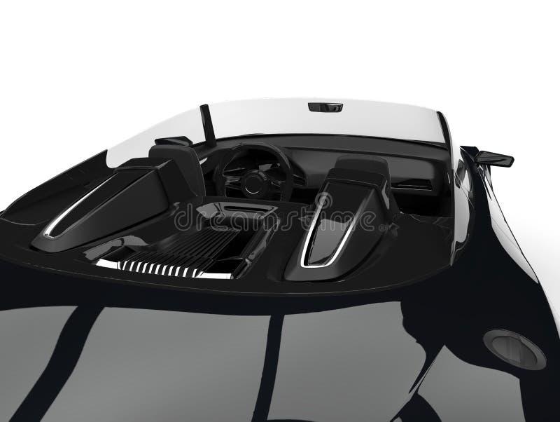 Glanzende straal zwarte moderne cabriolet super auto - boven binnenlands schot royalty-vrije illustratie