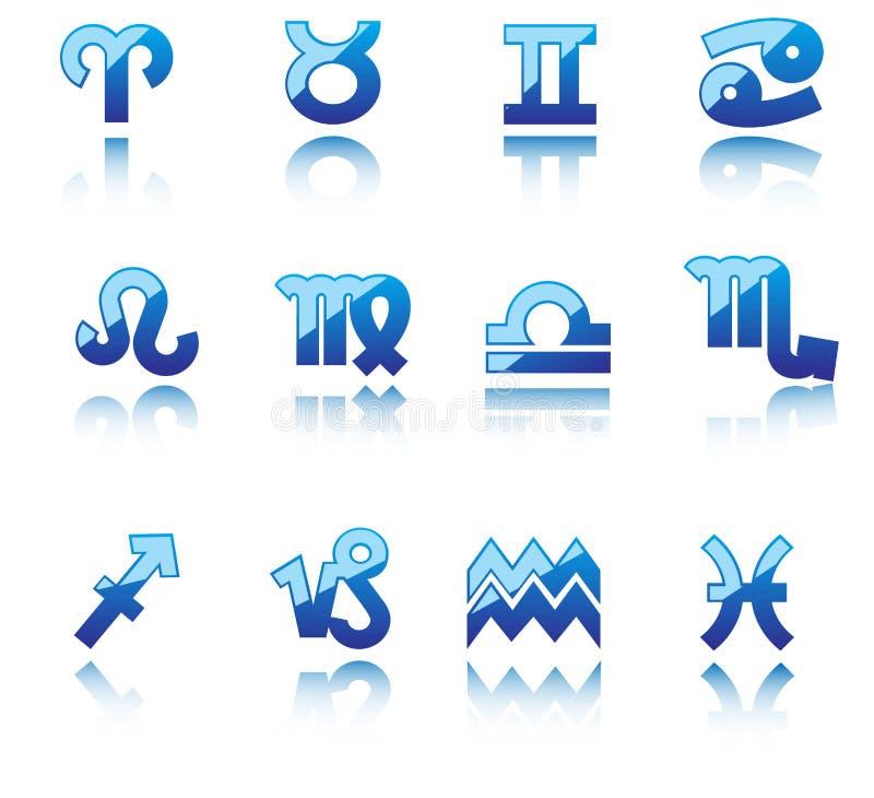 Glanzende symbolen van horoscoop vector illustratie