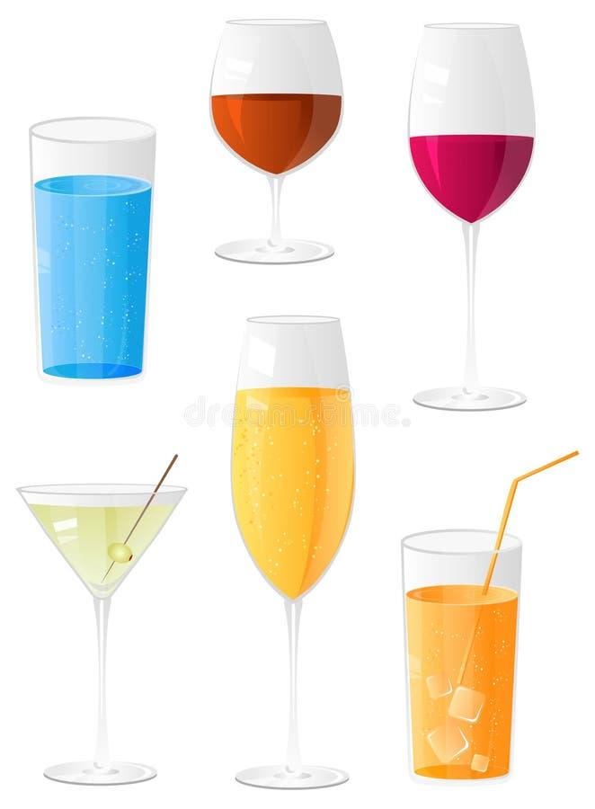 Glanzende verschillende glazen voor dranken stock illustratie