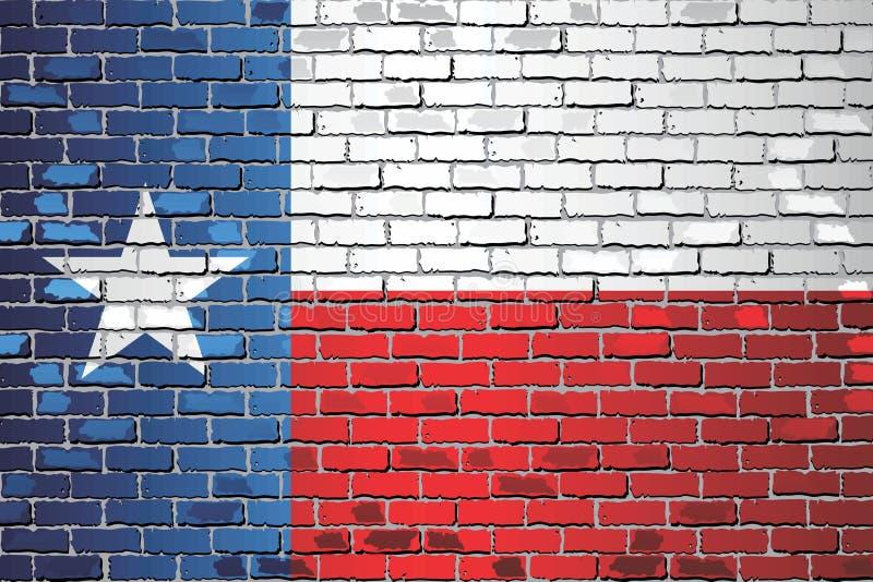 Glanzende Vlag van Texas op een bakstenen muur vector illustratie