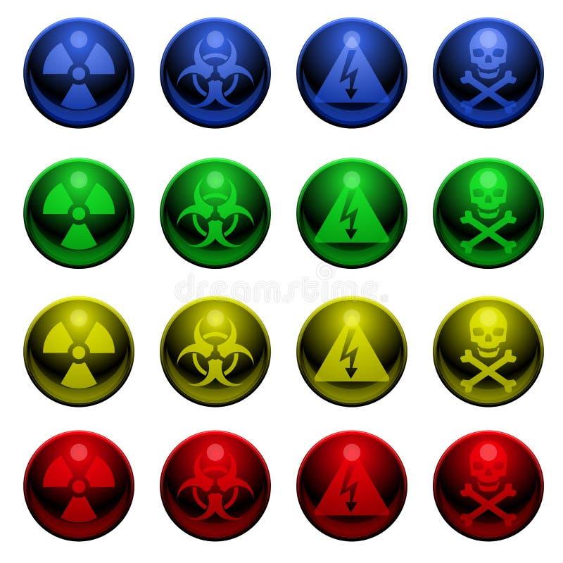 Glanzende waarschuwingssymbolen vector illustratie