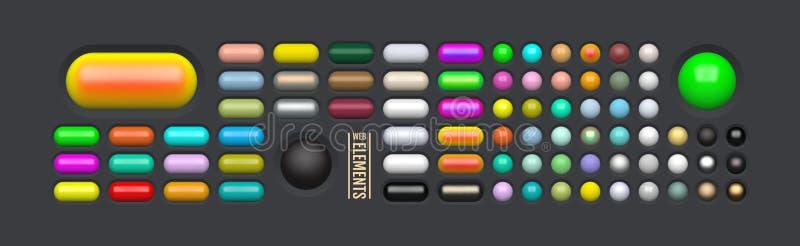 Glanzende Webelementen Gekleurde ovale knopen voor uw ontwerp 3d pictogrammen van het glasmenu Vector illustratie royalty-vrije illustratie
