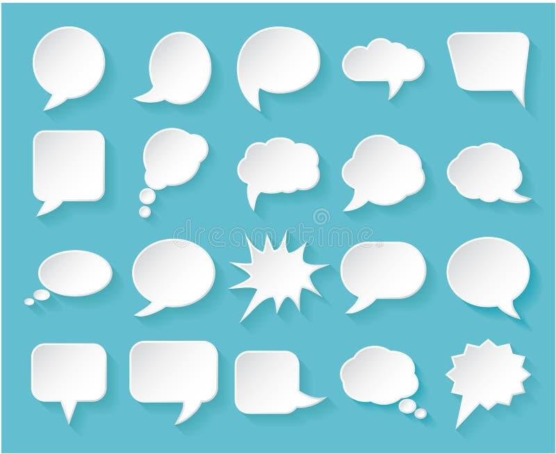 Glanzende Witboekbellen voor toespraak op een blauwe achtergrond royalty-vrije illustratie