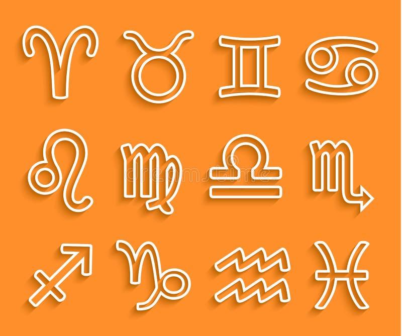 Glanzende witte Dierenriempictogrammen op Oranje Achtergrond royalty-vrije illustratie