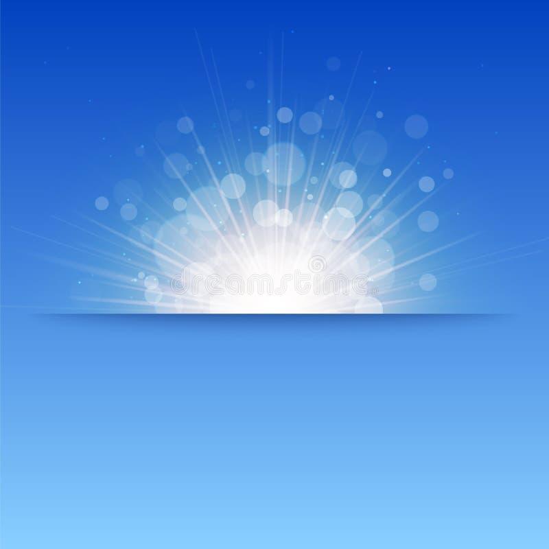Glanzende zonvector, zonnestralen, zonnestralen, bokeh royalty-vrije illustratie