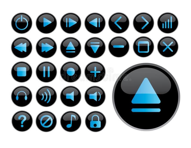 Glanzende zwarte pictogrammen stock foto's