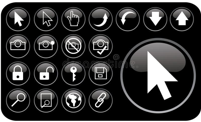 Glanzende zwarte pictogrammen part3 stock afbeelding