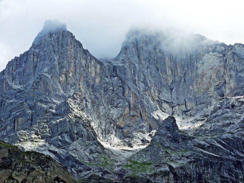 Glarner Vorab Westwand eller Vorab-Westwand, alm royaltyfria bilder