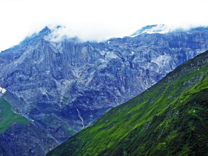Glarner Vorab Westwand eller Vorab-Westwand, alm royaltyfri fotografi