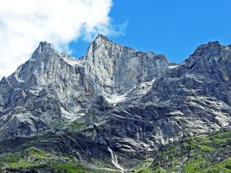 Glarner Vorab Westwand eller Vorab-Westwand, alm arkivfoto