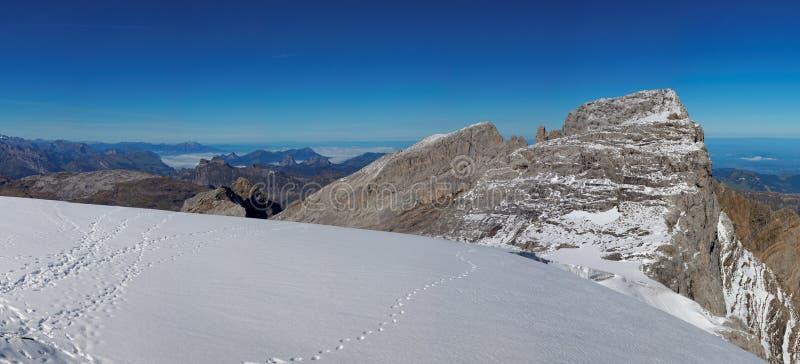 Glarnisch冰川的全景,瑞士阿尔卑斯,瑞士 免版税库存照片