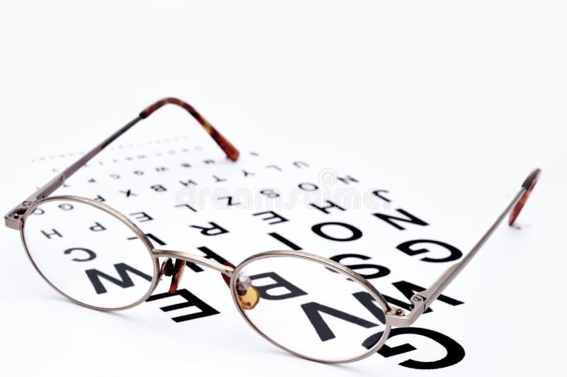 glasögon för diagramexamenöga arkivfoto