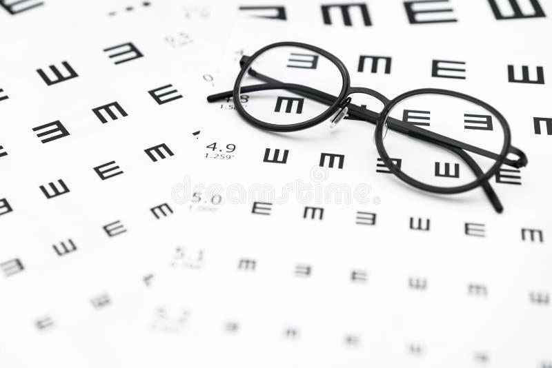 Glasögon och diagram för visuell skärpa i vit bakgrund royaltyfri fotografi