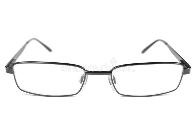 Glasögon svart mananblickar, titanram, isolerad makroCloseup, stort detaljerat studioskott arkivbilder