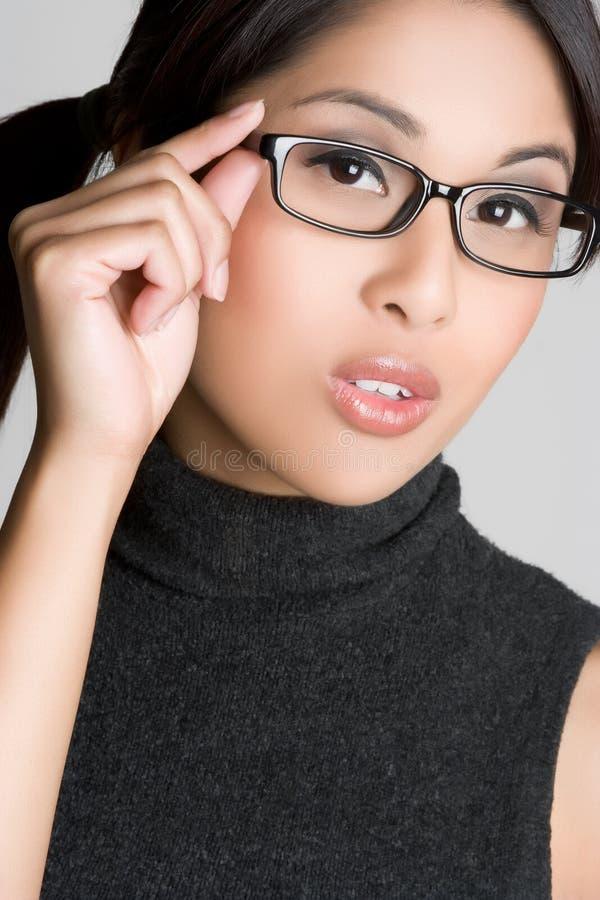 glasögonflicka arkivbild
