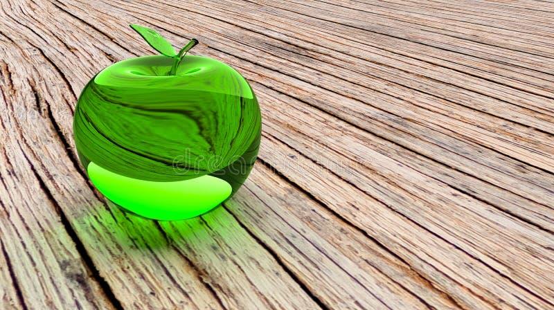 Glas- äpple, glödande äpple, modell 3d Äpple för grönt exponeringsglas på en brun trätabell stock illustrationer