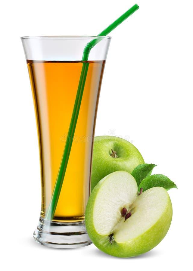 Glas appelsap met fruit op wit wordt geïsoleerd dat stock foto's
