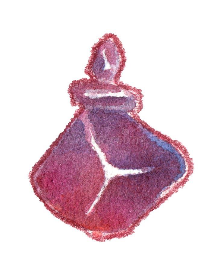 Glas asymmetrisch purper die flesje op wit wordt geïsoleerd royalty-vrije illustratie