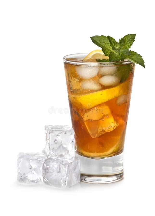 Glas bevroren thee stock foto's