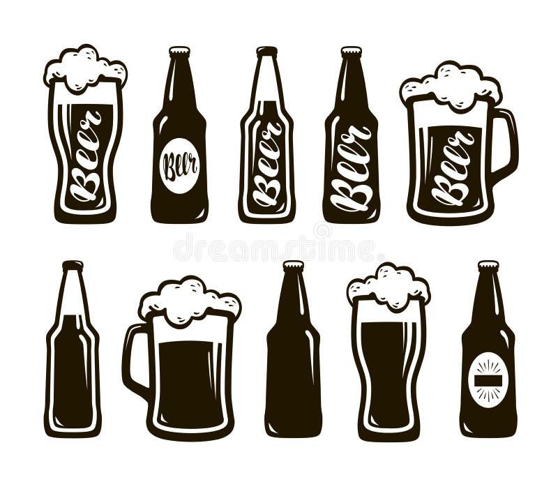 Glas Bier, Ale, Lager Becher, Flaschensatz Ikonen Oktoberfest, Restaurant, Kneipe, Barsymbol Auch im corel abgehobenen Betrag vektor abbildung