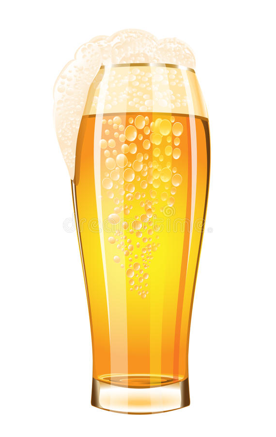 Glas Bier auf einem weißen Hintergrund lizenzfreie abbildung