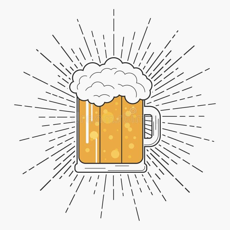 Glas bier met schuim en zonnestraal in hipsterstijl Uitstekend etiket met mok alcoholische drank Vector illustratie royalty-vrije illustratie