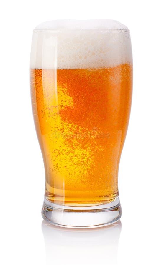 Glas bier op witte achtergrond royalty-vrije stock afbeelding