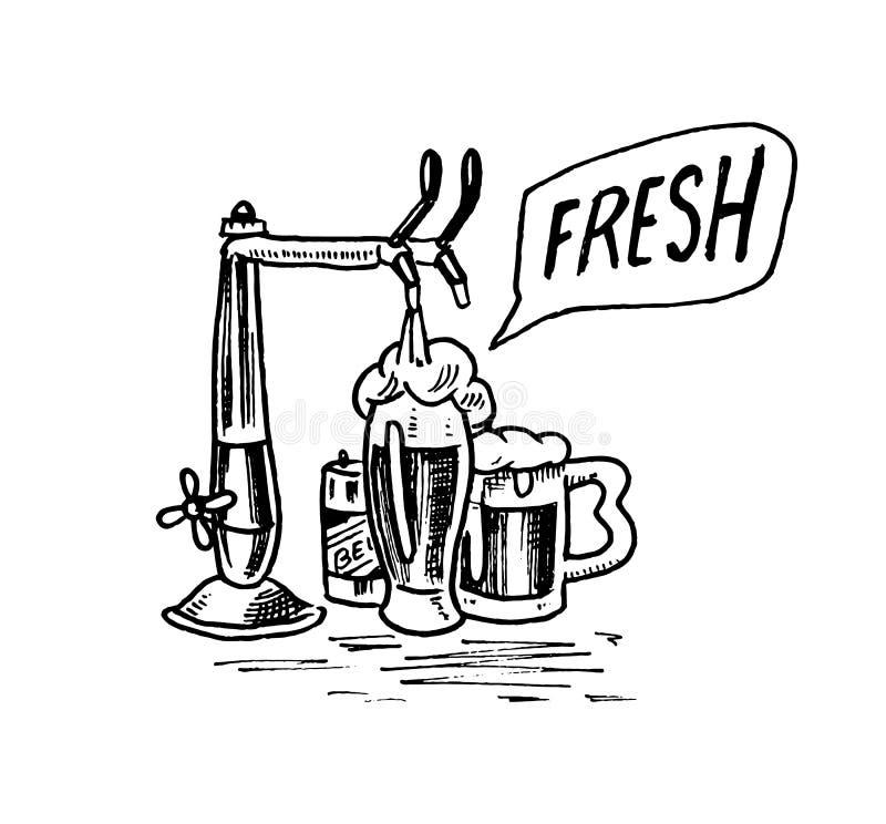Glas bier in uitstekende stijl Alcoholisch Etiket met Vaatje en kraan Klassiek Amerikaans kenteken voor affichebanner Getrokken h royalty-vrije illustratie