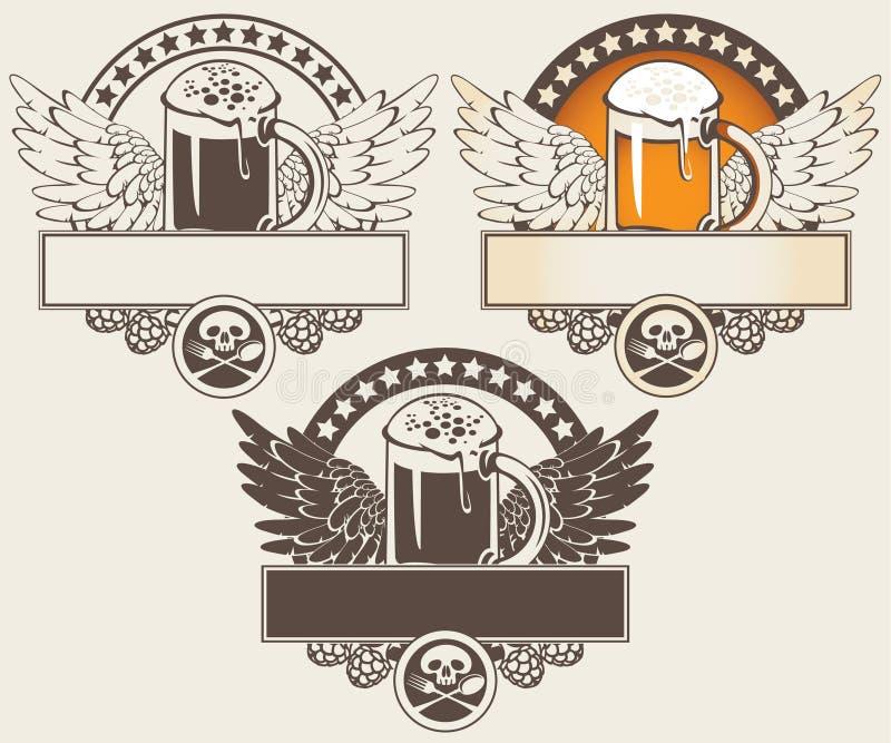 Glas Bier und Flügel vektor abbildung