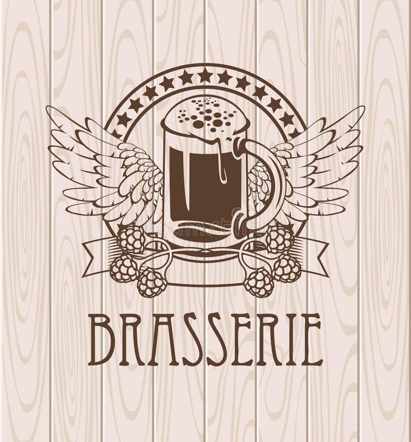 Glas Bier und Flügel lizenzfreie abbildung