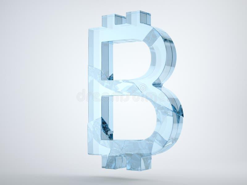 Glas bitcoin symbool op grijs wordt en wordt gebroken verbrijzeld dat stock illustratie
