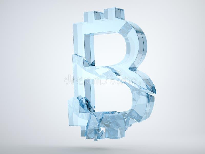 Glas bitcoin symbool op grijs wordt en wordt gebroken verbrijzeld dat royalty-vrije illustratie
