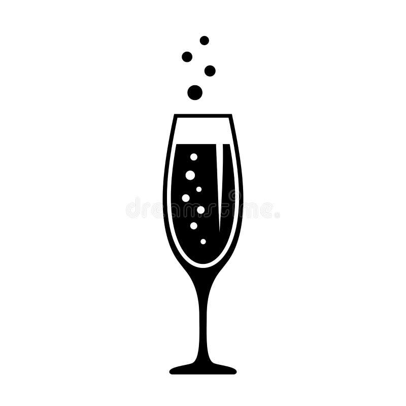 Glas Champagner, Feierkonzeptikone lizenzfreie abbildung