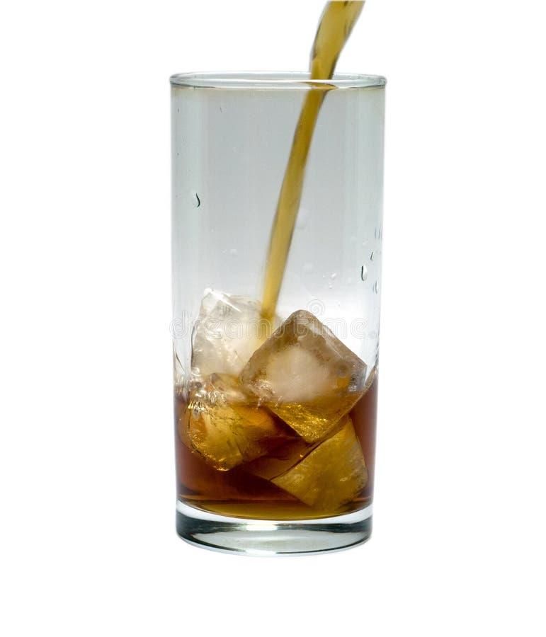 Glas cocktail of thee met ijs voorwerp, drank stock afbeelding