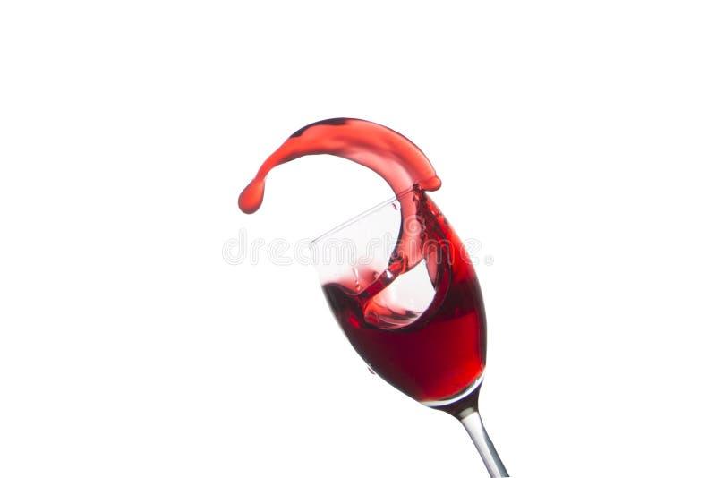 Glas del vino rojo aislado en blanco imagen de archivo libre de regalías