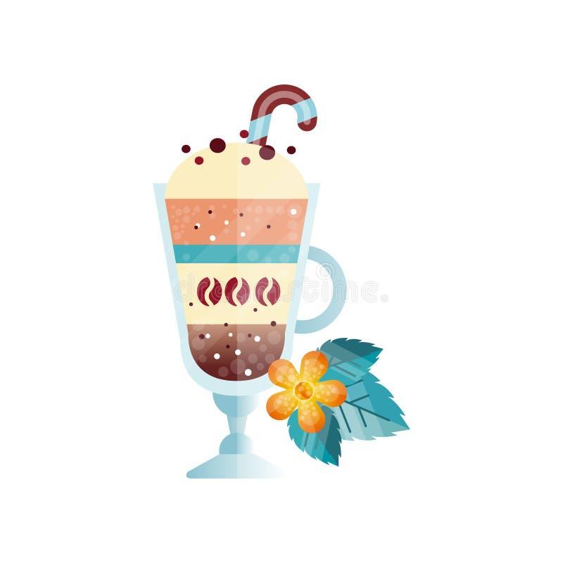 Glas des heißen Kaffeegetränks mit sahnigem Schaum Schale des köstlichen Getränkes mit süßer Zuckerstange Orange Blume und Grün stock abbildung