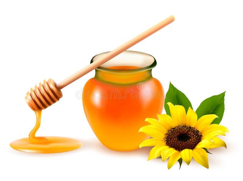 Glas des Honigs und des Ölmessstabes mit gelber Blume. stock abbildung