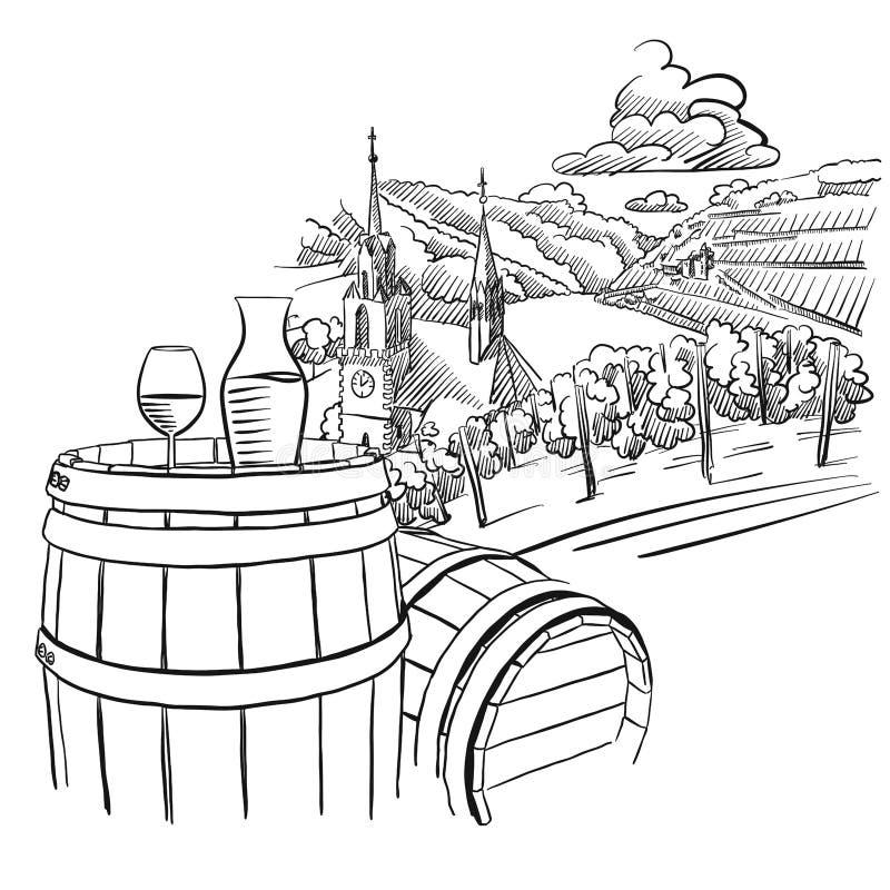 Glas di vino sul barilotto davanti al paesaggio tedesco della vigna illustrazione vettoriale