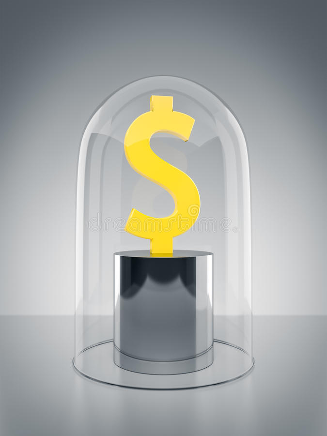 Glas Dome with Dollar sign. An image of a Dollar sign protected under a glass dome stock illustration