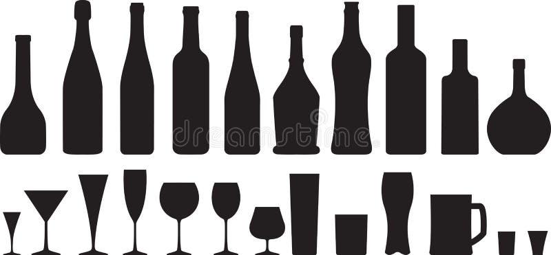 Glas en fles stock illustratie