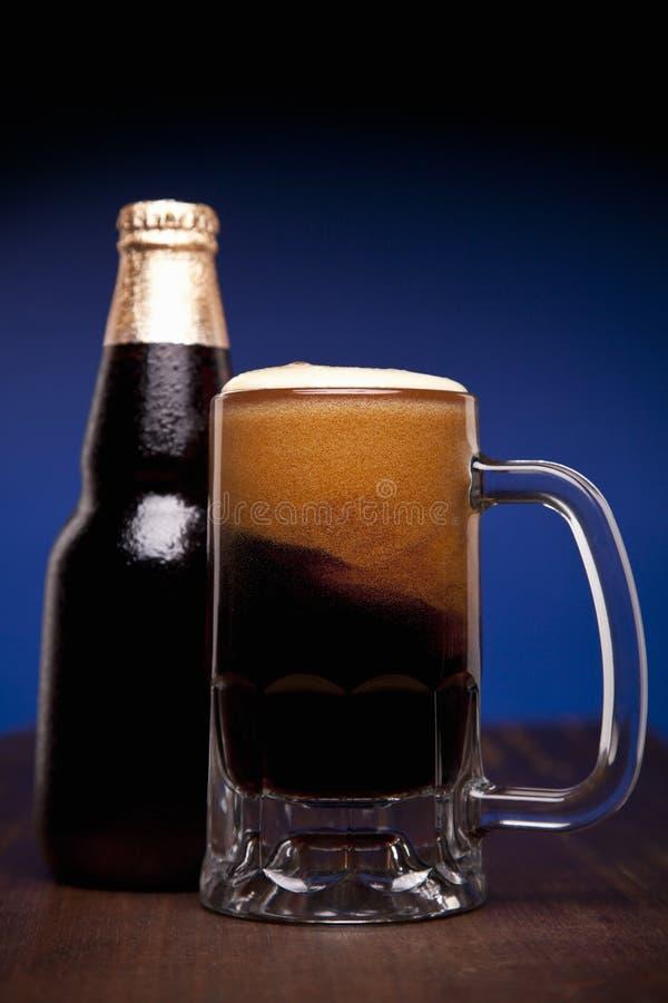 Glas en fles bier stock foto