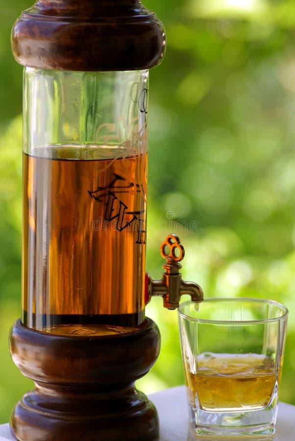 Glas en fles wisky stock foto