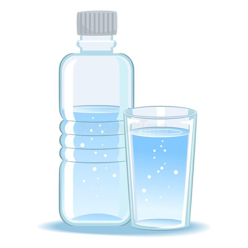 Glas en gebotteld water royalty-vrije illustratie
