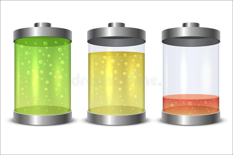 Glas en metaalbatterijpictogram stock illustratie