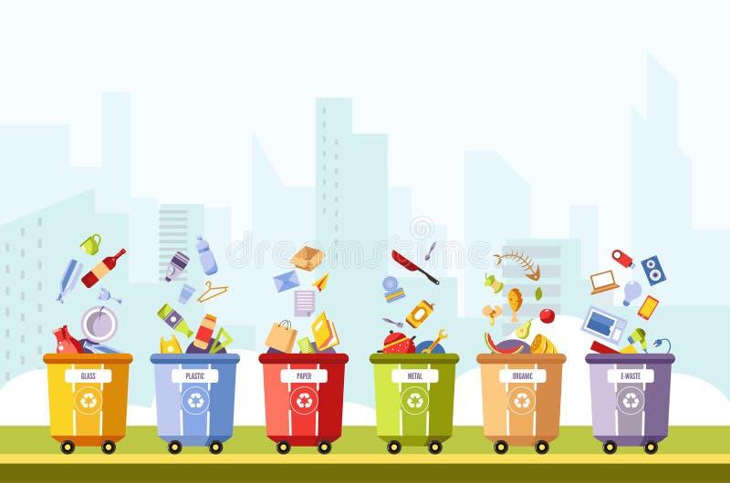 Glas en plastiek, document en metaal, organische en afvalvector stock illustratie