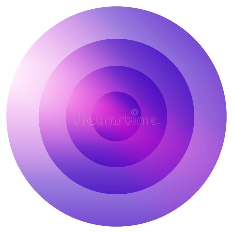 Glas- färgrikt utstråla, beståndsdel för koncentriska cirklar Glödande b royaltyfri illustrationer