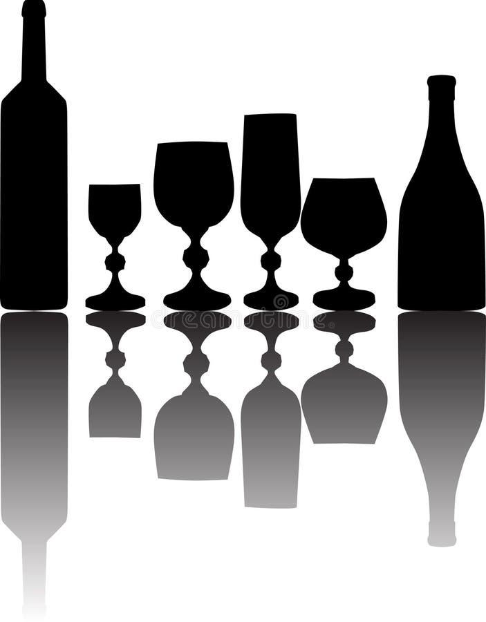 Glas, flessen en bezinning royalty-vrije illustratie