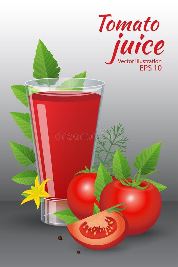 Glas geschmackvoller frischer Tomatensaft mit roten reifen Tomaten, grüne Tomate treibt Blätter stock abbildung