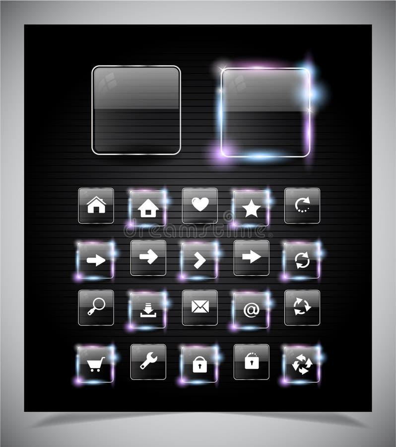 Glas gloeiende knopen voor Web stock afbeeldingen