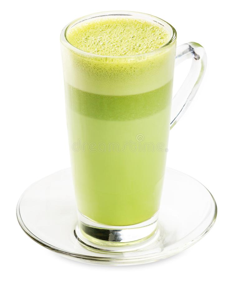 Glas Groene die thee smoothie op witte achtergrond wordt geïsoleerd stock foto